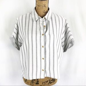 Thread & Supply Striped Cropped Button Down Shirt